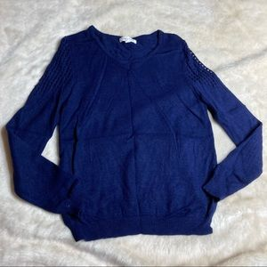 Honey Punch Cobalt Blue Perforated Sleeve Sweater